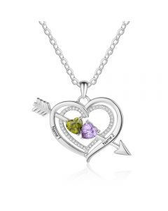 925 Silver Personalized Names Arrow and Heart Shape Necklace with Heart Shape Birthstones