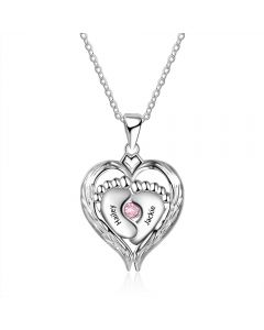 925 Sterling Silver Little feet Heart Pendant Necklace