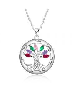 925 Sterling Silver Tree of Life Necklace with Seven Birthstones