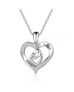 925 Sterling Silver Engraved Name Heart Shape Pendant Necklace